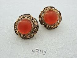 VTG Gorgeous Chinese export filigree silver gilt carnelian earrings screw back