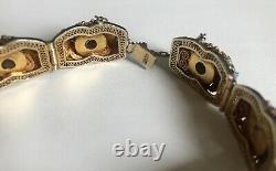 VTG St Silver Gold Plated Chinese Amethyst Enamel Butterfly Filigree Bracelet