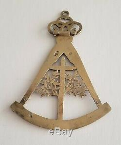 Very Rare Antique 19th Chinese Export Gilt Silver and Diamond Masonic Medal