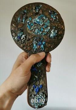 Very rare Chinese Export gilt bronze mirror with silver enamel imortal figur