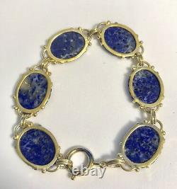 Vintage 1920's Chinese Gold Plated Silver With Hand-Carved Lapis Lazuli Bracelet