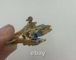 Vintage 1940s GOLD WASH Sterling SILVER FILIGREE Enamel DRAGON BROOCH Chinese