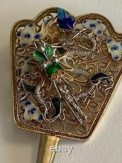Vintage 1940s GOLD WASH Sterling SILVER FILIGREE Enamel FAN BROOCH Chinese