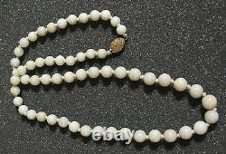 Vintage 26 Inches Chinese Necklace with White Jade Beads & Silver Over Gold Clasp