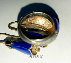 Vintage Antique Chinese Export Gilt Silver Enamel Adjustable Ring & Earrings