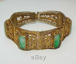 Vintage Antique Chinese Export Gilt Silver Jade / Jadeite BRACELET Marked China