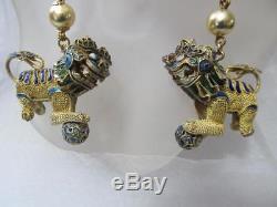 Vintage Antique Handmade Chinese Lion Foo Dog gold gilt filigree earrings