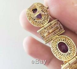 Vintage Antique Sterling Silver Chinese Export Amethyst Bracelet Gold Vermeil