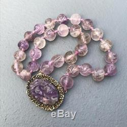 Vintage Art Deco Chinese Gold Gilt Silver Carved Amethyst Pendant Necklace