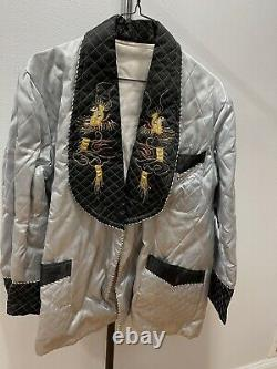 Vintage Asian Chinese Silver & Black Silk Embroidered Jacket with Gold Dragons Dec