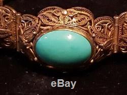 Vintage CHINESE Filigree Vermeil (GOLD WASH OVER SILVER) Carved Jade Bracelet NR