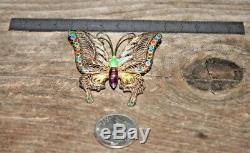 Vintage CHINESE GILT Silver BUTTERFLY filigree ENAMEL BROOCH Pin signed rare