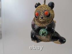 Vintage Chinese 3D Gold Filigree Jade & Coral Eyes Panda Bear Brooch/Necklace
