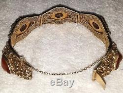 Vintage Chinese 7 Gilt Bracelet With Orange Carnelian Gemstones(5)