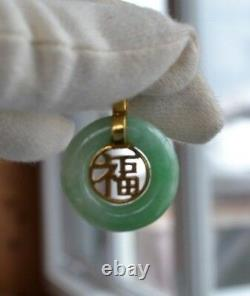 Vintage Chinese Apple Green Jade Jadeite gold silver 925 Chinese letter Pendant
