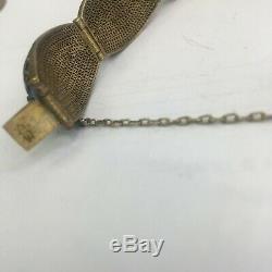 Vintage Chinese Art Deco Export SILVER Gilt Enamel Filigree Coral Bracelet