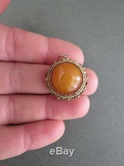 Vintage Chinese Butterscotch Egg Yolk Amber Silver Gilt Pendant