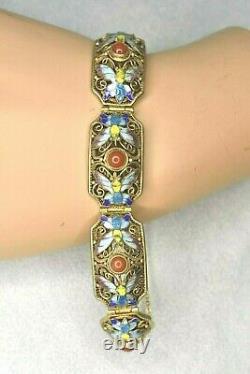Vintage Chinese CORAL Butterfly Enamel Gold On Sterling Silver Filigree Bracelet