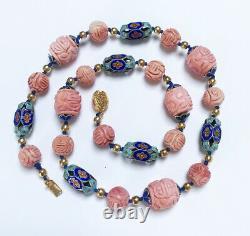 Vintage Chinese Carved Pink Coral Enamel Necklace Gold Filled Filigree Clasp