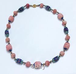 Vintage Chinese Carved Pink Jade Enamel Necklace Gold Filled Filigree Clasp
