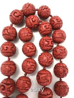 Vintage Chinese Carved Red Cinnabar Bead Necklace 28 Gilt Silver Clasp