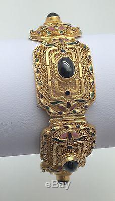 Vintage Chinese China Export Gilt Sterling Silver Filigree Enamel Bracelet