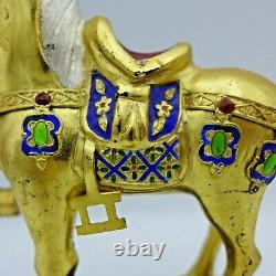 Vintage Chinese Cloisonne Gilded Horse Gold Over 925 Silver 5H on Stand