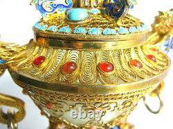 Vintage Chinese Dragon Urn Gold Gilt Sterling Silver Filigree Jewels Jade Bowl