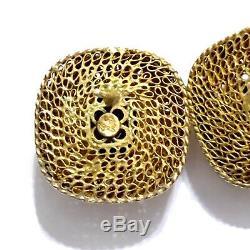 Vintage Chinese Enamel Sterling Silver Gold Gilt Filigree Amethyst Earrings