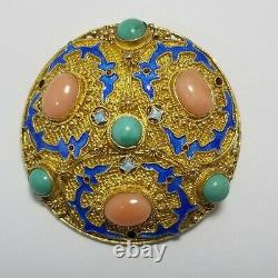 Vintage Chinese Export Brooch, Pin, Coral, Turquoise, Sterling Silver, Gold Gilt
