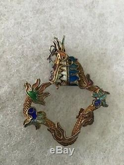 Vintage Chinese Export DRAGON PENDANT Colorful Enameled gold over Silver
