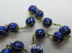 Vintage Chinese Export Gilt Silver Blue Cloisonne Enamel Chain Bead Necklace 30