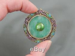 Vintage Chinese Export Gilt Silver Enamel Jadeite Jade Double Sided Pendant