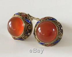 Vintage Chinese Export Gilt Silver Fine Filigree Enamel Carnelian Clip Earrings