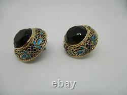Vintage Chinese Export Gilt Silver Fine Filigree Enamel Smoky Quartz Earrings