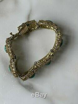 Vintage Chinese Export Gold Gilt Filigree Turquoise Bracelet Box Clasp Not Scrap