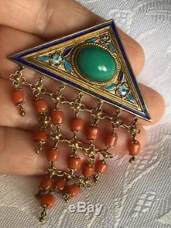 Vintage Chinese Export Gold Gilt Silver Coral & Turquoise Enamel Brooch Unique