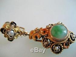 Vintage Chinese Export Gold Gilt Silver / Jade / Baroque Pearl Earrings