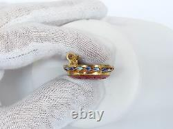 Vintage Chinese Export Gold Wash Silver Carved Cinnabar Enameled Brooch Pin
