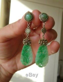 Vintage Chinese Export Natural Carved Jade Silver & Gold Earrings