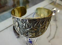 Vintage Chinese Export Repouse Etched Gilded Brass Cuff Bangle Figural