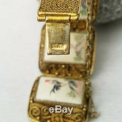 Vintage Chinese Export Rooster Etched Scrimshaw Silver Gilt Filigree Bracelet
