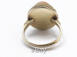 Vintage Chinese Export Silver Filigree Gold Washed Coral Ring, Adjustable Band