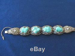 Vintage Chinese Export Silver Filigree Turquoise Cabochon Enamel Bracelet