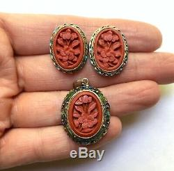 Vintage Chinese Export Silver Gilt Cinnabar & Enamel Pendant & Earrings Set