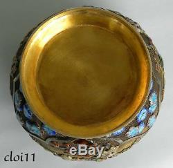 Vintage Chinese Export Silver Gilt Cloisonne Lidded Vase Urn Tea Caddy with Jewels
