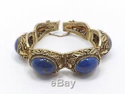 Vintage Chinese Export Silver Gilt Filigree & Blue Lapis Bracelet