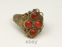 Vintage Chinese Export Silver Gold Wash Filigree & Red Carnelian Ring Adjustable