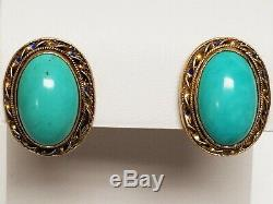 Vintage Chinese Export Sterling Silver Gold Turquoise & Enamel Clip Earrings