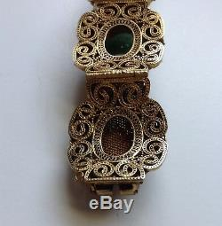 Vintage Chinese Gilded Silver Filigree Bracelet with Green Jade Cabochons